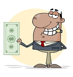 African american businessman shows big dollar vector