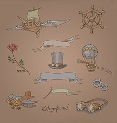 Vintage steampunk set vector