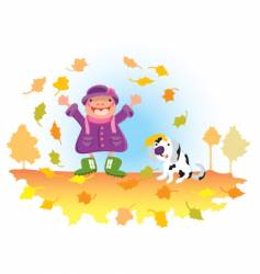 Child playing with leaves vector