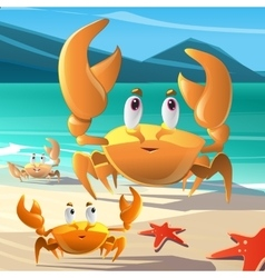 A cartoon crabs at the seashore vector