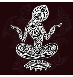 Meditation lotus pose tattoo style vector