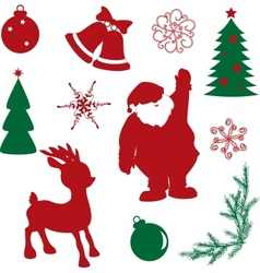 Set of christmas silhouette shapes vector