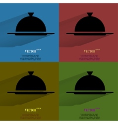 Color set restaurant cloche flat modern web button vector