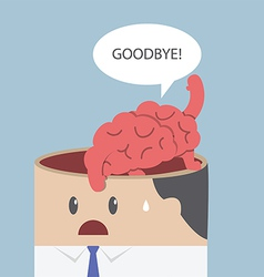 Brain say goodbye and go out of businessman head vector