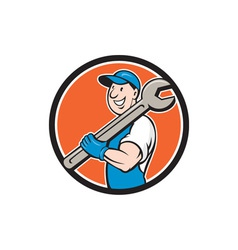 Mechanic smiling spanner standing circle cartoon vector