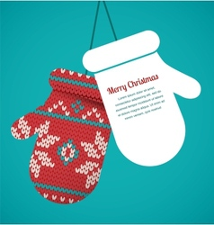 Knitted mittens christmas background vector