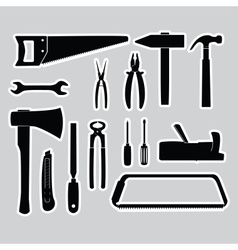 Hand tools stickers set eps10 vector