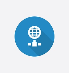 Internet flat blue simple icon with long shadow vector