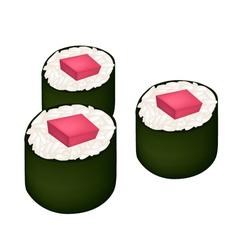 Tuna sushi roll or tuna norimaki isolated on white vector