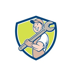 Mechanic smiling spanner standing crest cartoon vector