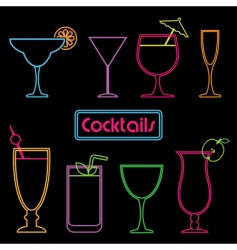 Neon cocktail signs vector