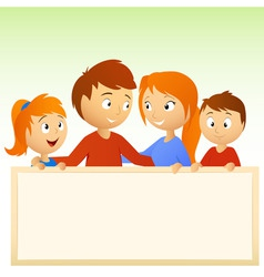 Cartoon family holding blank sign vector