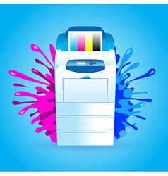 Printer cmyk print splash vector