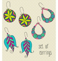 Set of different female earrings vector