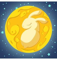 Rabbit in the moon vector
