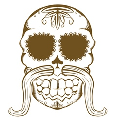 Sugar skull one color vector