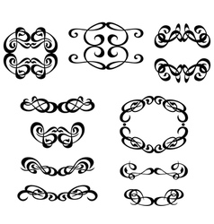 Calligraphy ornament frame set vector