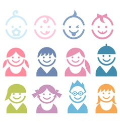 Baby and children faces vector
