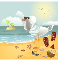 Seagull on the beach looking through binoculars vector