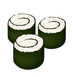 Rice maki sushi roll or rice nori roll vector