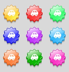 Auto icon sign symbol on nine wavy colourful vector