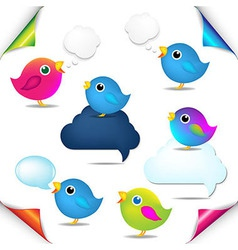 Color birds set with corners and speech bubble vector