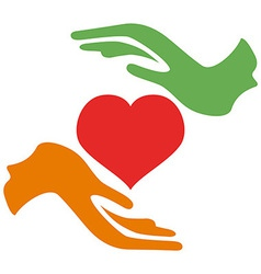 Hands hold heart vector