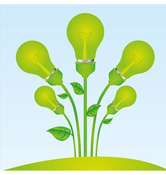 Planting of green bulb vector