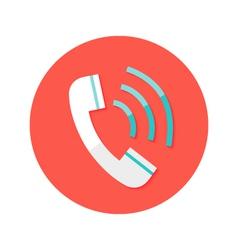 Call headphone circle flat icon vector