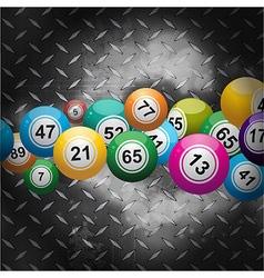 Bingo balls over metallic diamond plate vector