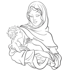 Christmas theme madonna and child jesus vector