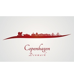 Copenhagen skyline in red vector