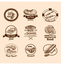 Sketch meat labels vector