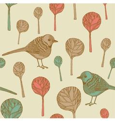 Retro birds pattern vector