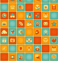 Square pattern of social media in retro colors vector