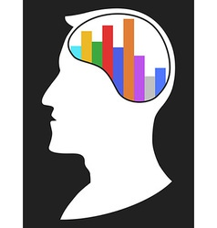 Head with bar chart vector