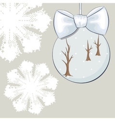 Christmas bauble with bow and snowflakes vector