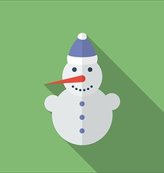 Icon of christmas snowman flat style vector