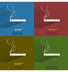 Color set smoking sign cigarette flat modern web vector