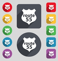 Route 55 highway icon sign a set of 12 colored vector