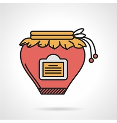 Red jam jar flat icon vector