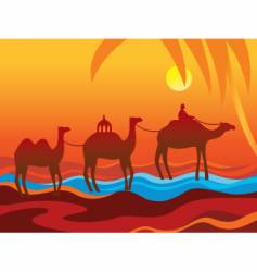 Camels oasis vector