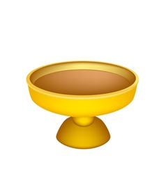 A golden tray with pedestal on white background vector