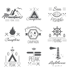 Set of icons on a hike in the mystical retro style vector