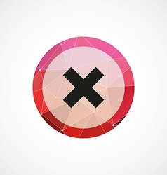 Close circle pink triangle background icon vector