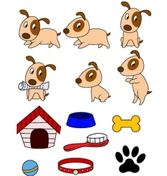 Dog cartoon and stuff vector