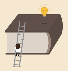 Climbing big book to reach an idea vector