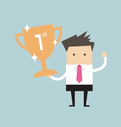 Businessman holding winning trophy vector