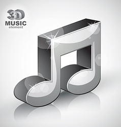 Funky metallic musical note 3d modern style icon vector