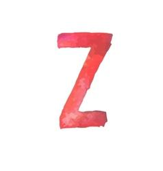 Letter z colorful watercolor aquarelle font type vector